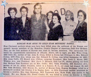 Pinning new members of the Hamilton County Gold Star Mothers 1952